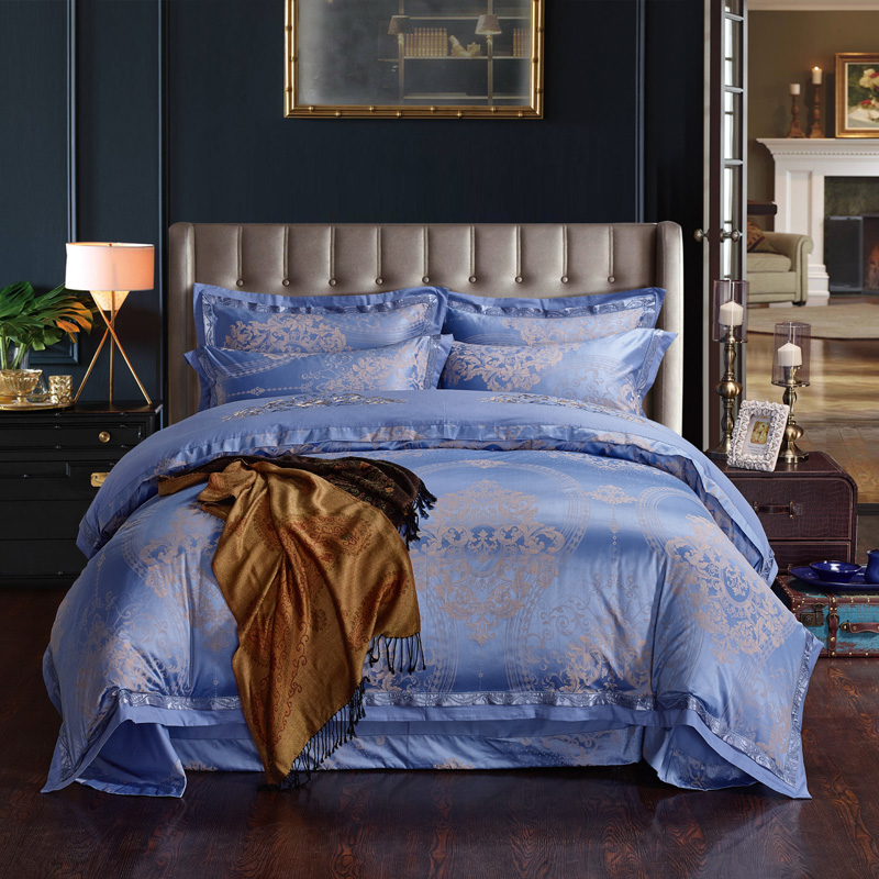 Oriental blue Embroidered Jacquard bedding sets cotton silk comforter covers bed spread king queen size 4/5pc girl wedding linenOriental blue Embroidered Jacquard bedding sets cotton silk comforter covers bed spread king queen size 4/5pc girl wedding linen