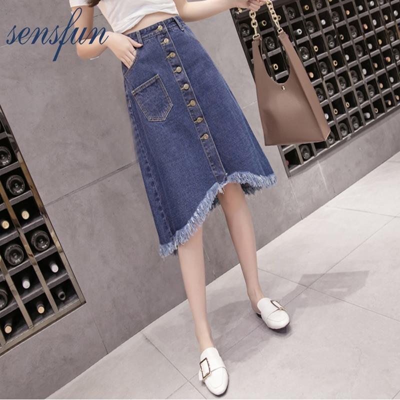 Sensfun 2018 fashion women sweet denim skirts vintage pockets faldas European style ladies Knee-length skirts with button