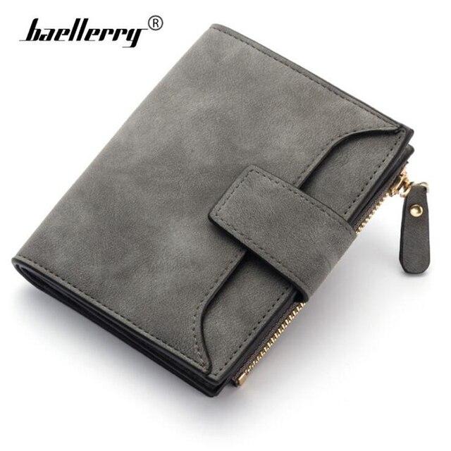 Baellerry Fashion Short Wallet Women Leather Lady Purse Small Trifold  Female Wallets Zipper Hasp Coin Pocket Hidden Card Holder 2813ca49077