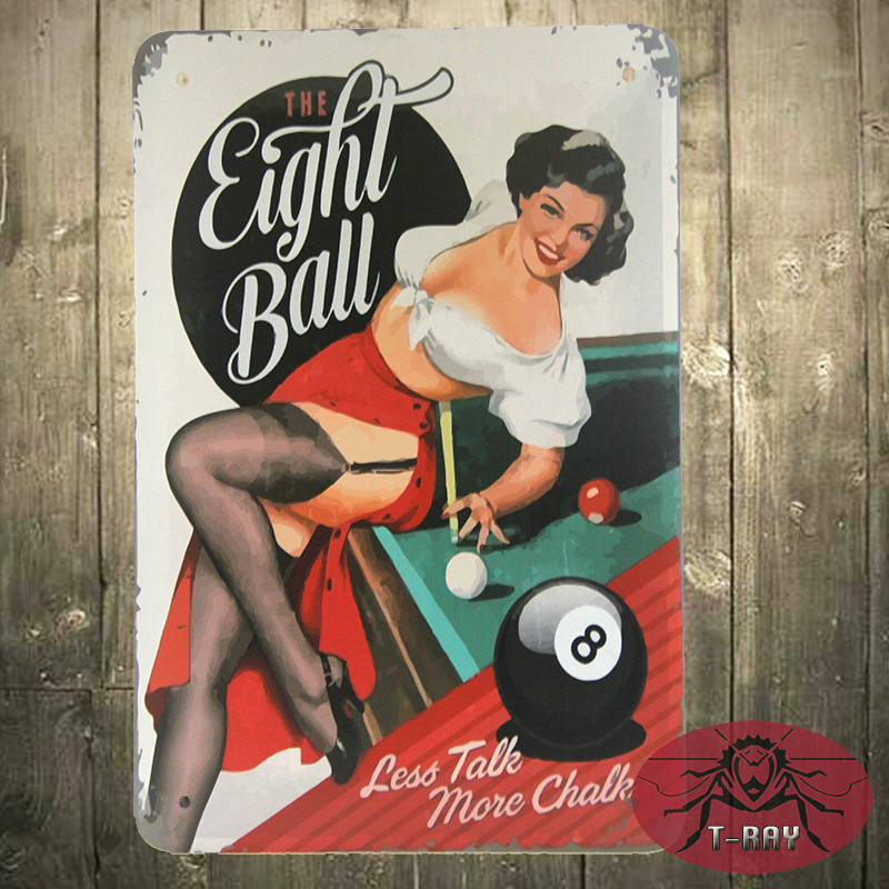 The eight ball less talk more chalk iron painting Home Decoration Vintage home decor poster H-64