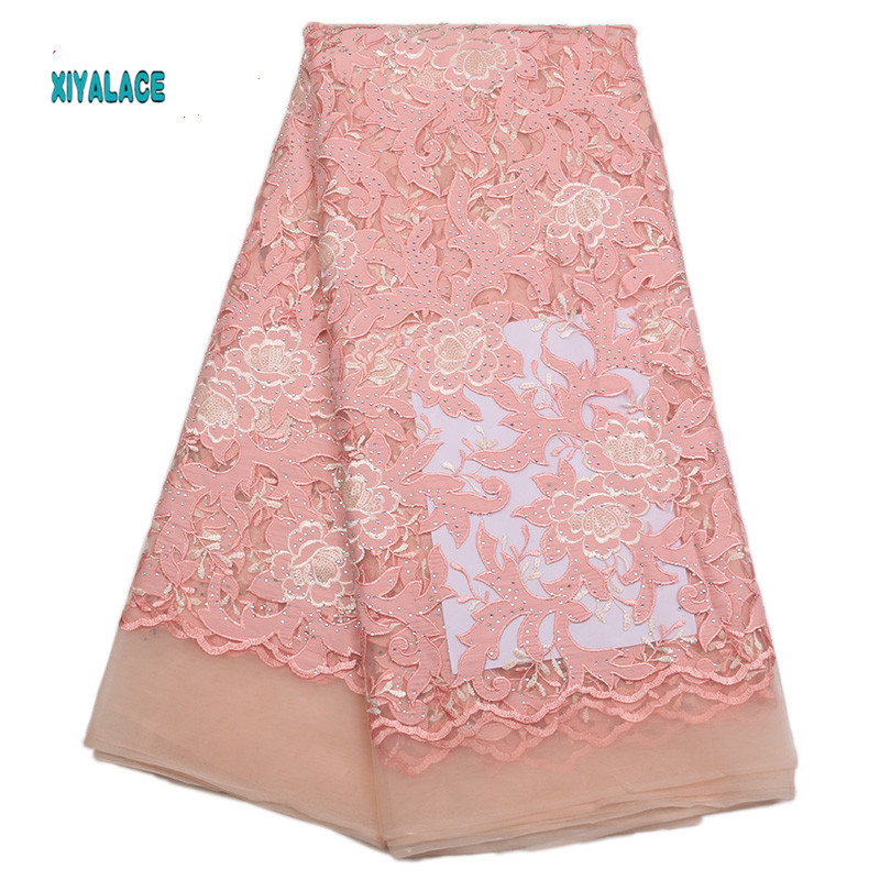Pink African Lace Fabric High Quality Lace Nigerian Voile Lace Fabric New Swiss Voile Lace Switzerland Add Stones YA1773B-2
