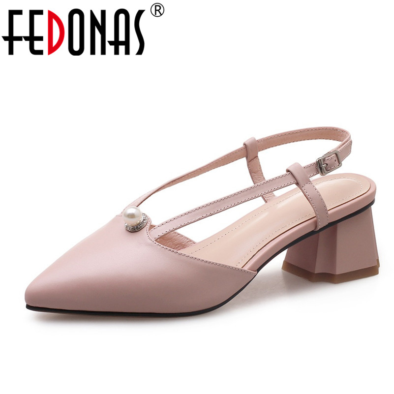 FEDONAS Women Genuine Leather High Heeled Summer Sandals Elegant Beading Ankle Strap Pointed Toe Wedding Party Shoes Women Pumps оправа miu miu miu miu mi007dwhag36