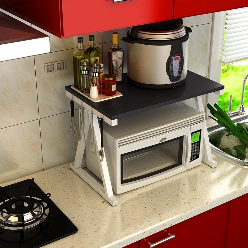 2017 New Wood Rack Microwave Oven Shelf Receive Seasoning Console Rice Cooker Double Storage Floor