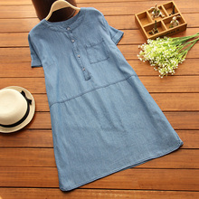 Maternity Clothing Plus Size Pregnant Clothes Summer Maternity Denim Dress Soft Loose Medium-Long Boat Neck Pregnancy Dresses
