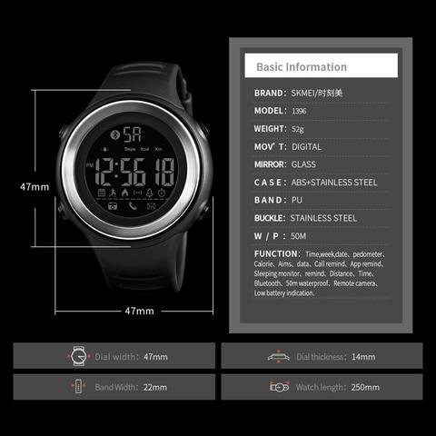 SKMEI Bluetooth Smart Watch Men Pedometer Stopwatch Waterproof Sports Watches Digital LED Electronics Watches For Men Smartwatch Multan