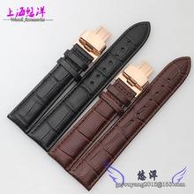 18 mm 19 mm 20 mm 21 mm 22 mm disponibles nueva alta calidad negro genuino bandas reloj de cuero correas de plata de la hebilla de mariposa broche