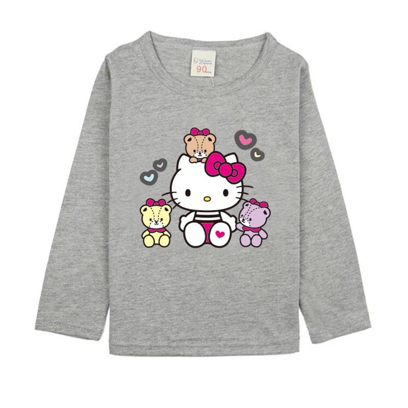 Girls Long Sleeve T Shirts For Children 2017 Autumn Hello Kitty T-shirt Cotton 1 -15T Kids Clothing Baby Girls Tops Tees Clothes