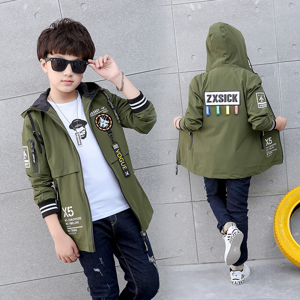 Kids Trench Coats For Boys Long Outerwear Spring Fashion Hooded Jackets Children Windbreaker 5 6 8 9 10 12 15 Years Outdoor Coat 2018 girls spring autumn trench jackets coats new children s zipper hooded long jacket coat kids windbreaker outerwear clothing