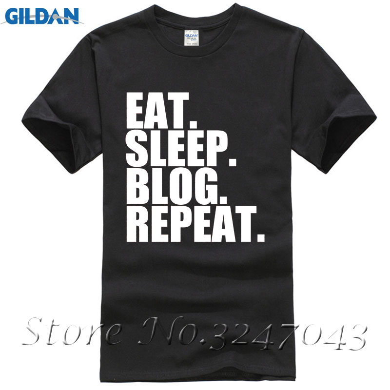 Eat. Sleep. Blog. Repeat. Social Blogger Mens T-Shirt Sleeve Tee Shirt Homme T-shirt
