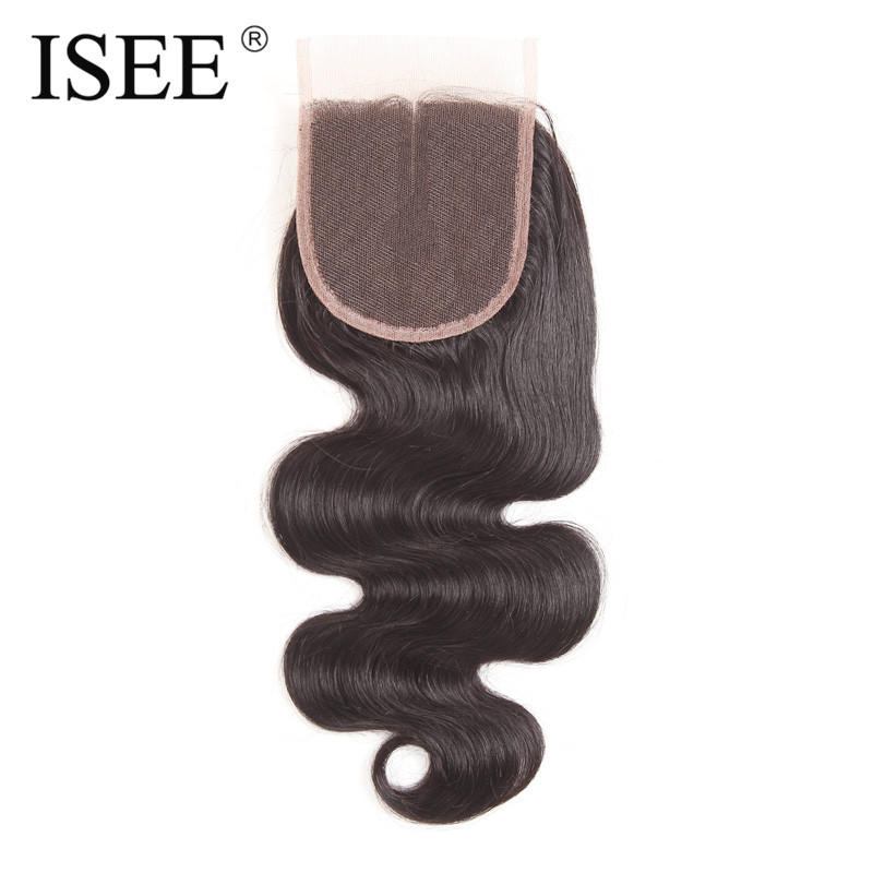 ISEE Body Wave Lace Closure Middle Part Hand Tied Remy Human Hair Free Shipping