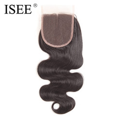 Isee body wave lace closure middle part hand tied remy human hair free shipping.jpg 250x250