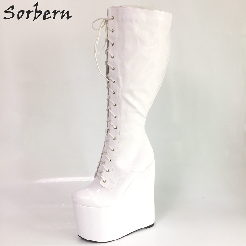 Sorbern Gloss White Knee High Boots For Women Wedges High Heels Platform Ladies Shoes Big Size 15 DIY Boots Women 2018 New