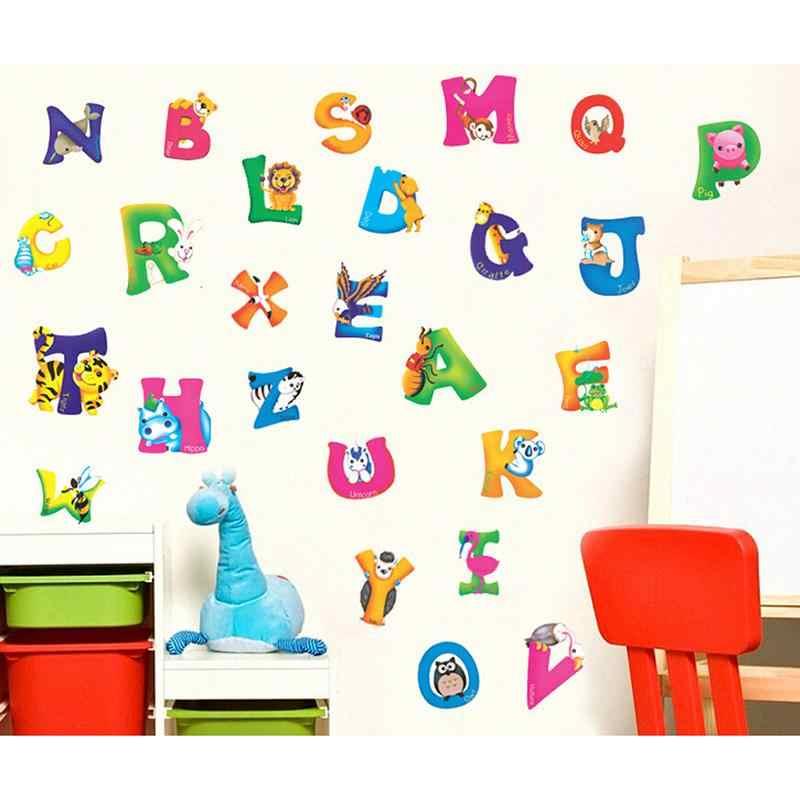 ZLinKJ Creativo PVC Rimovibile A-Z Alfabeto Animali Carte Da Parati Murale Del Capretto Dei Bambini di Scuola Materna Casa Soggiorno BedroomDecor