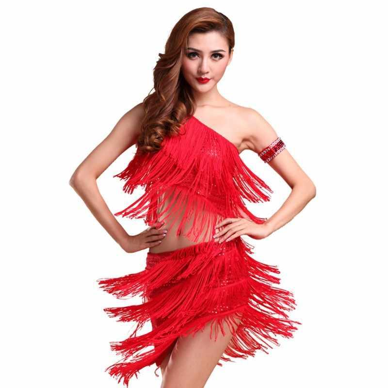 ded186979 ... Women Latin Dance Tops + Skirts Sets Rhythm Salsa Cha Cha Tango Tassel Dance  Dress Vestidos ...