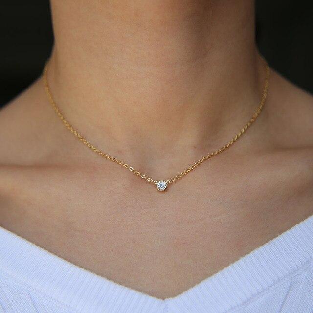 100% 925 sterling silver bạc sang trọng cổ điển đồ trang sức đơn giản chuỗi tinh tế tối thiểu bezel CZ đáng yêu tối giản xinh xắn vòng cổ cho cô gái