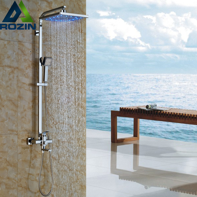 Wall Mounted Chrome LED Color Changing Shower Complete Set Mixer ...