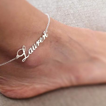 Custom Name Anklets Personalized Gold stainless steel Leg Chain Bohemian Ankle Foot Jewelry Gold Nameplate Ankle Bracelet