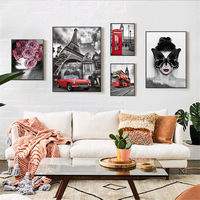 5Pcs Vintage Poster Landscape Canvas Paintings on the Wall Nordic Art Minimalist Decoration Modular Pictures for Home Decorative