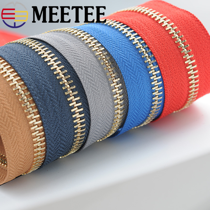 1Yard Meetee 5# Metal Zippers Open-End Tailor Garment Bags Home Sewing Crafts for Apparel Coat Clothing Zipper Repair 13 Colors