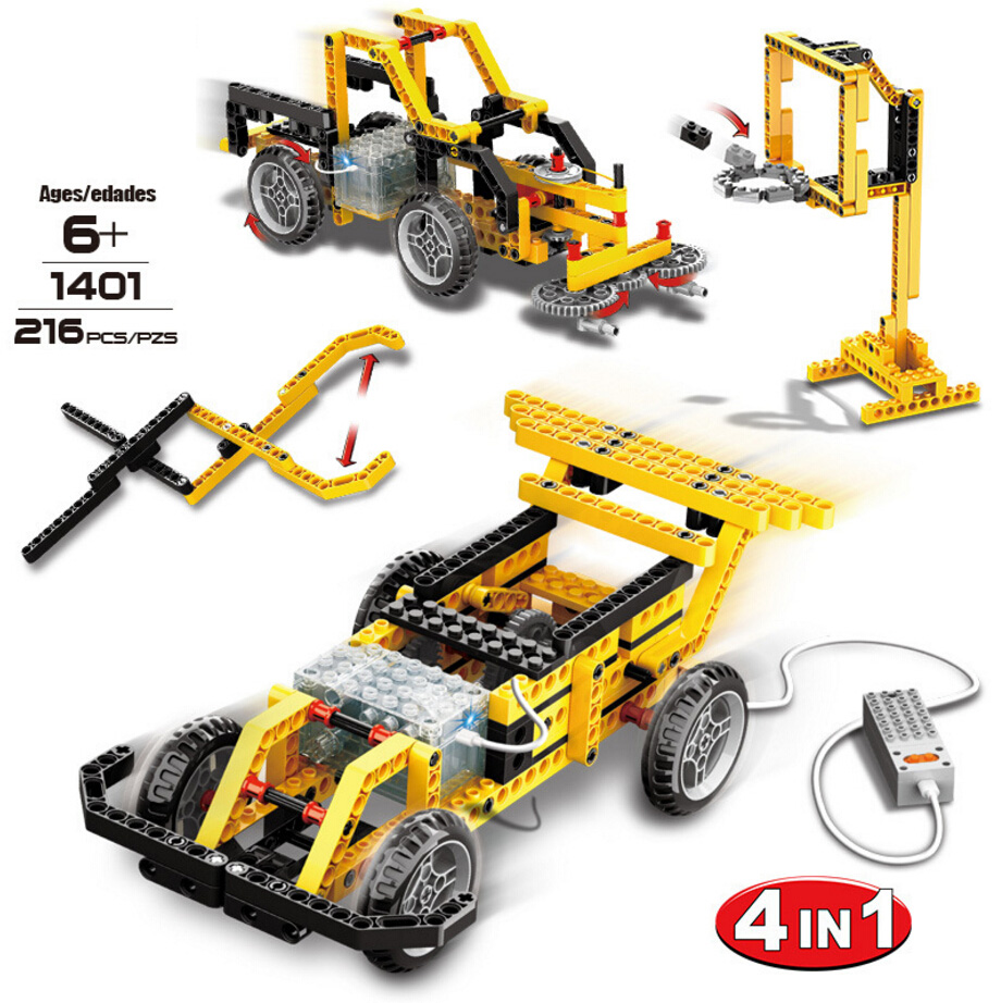 Technics Wired remote control speed car 4in1 building block street sweeper telescopic plier basketball frame educational rc toys technics technics rp dj1215e s