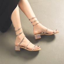 b5ccd1c8e bling colorful crystal sandals women brand snake pattern winds leg summer shoes  woman glitter narrow band