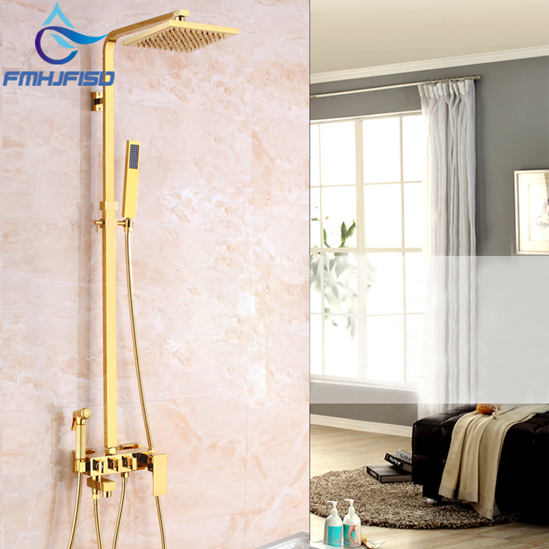 New Arrival Shower Faucet Luxury Gold Finish Brass Shower Head with Gun Sprayer Bathroom Shower Water