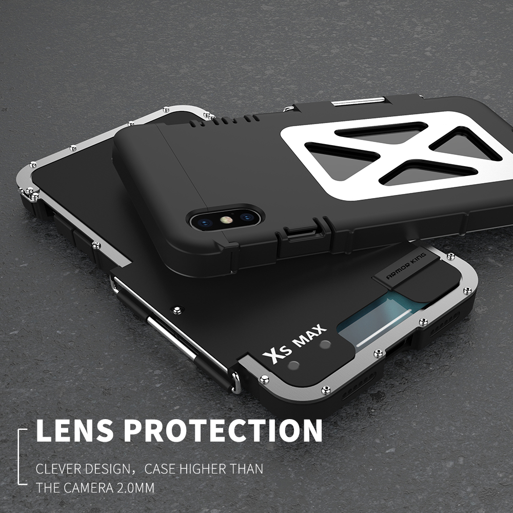 R JUST Original Stainless Iron Men Metal Flip Case For Iphone X XS MAX XR 6 6S 7 8 Plus 10 6.5 Armor King Shockproof Cover Shell