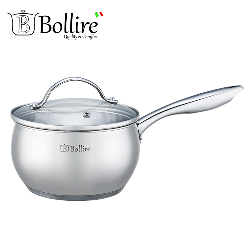 BR-2201 Ladle Bollire 1.7L 16cm Casserole stainless steel Cover of heat-resistant glass with a hole for the release of steam.
