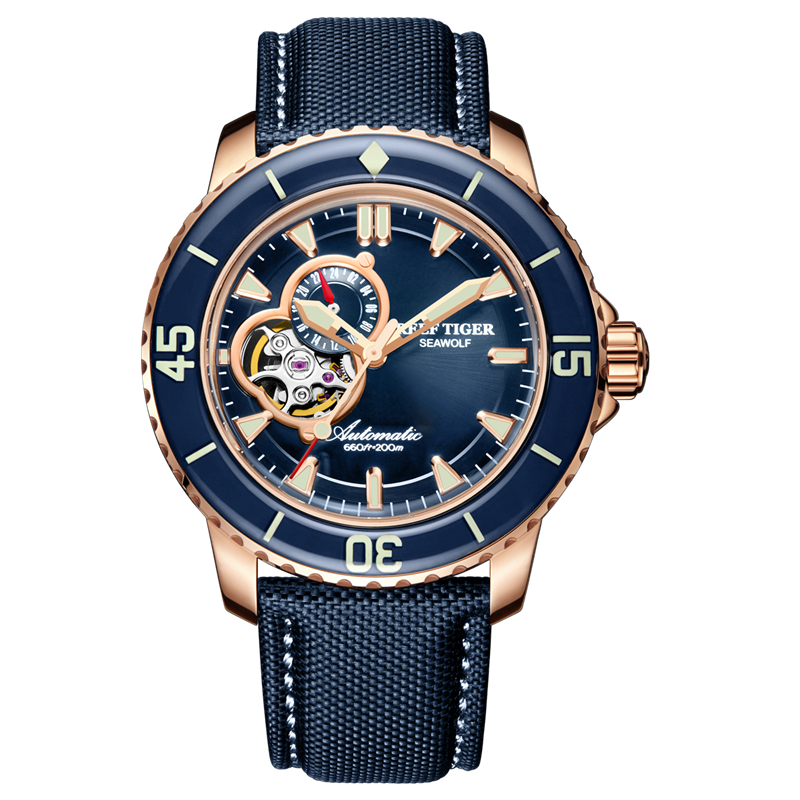Reef Tiger/RT Luxury Dive Watches for Men Automatic Rose Gold Tone Blue Watches Nylon Strap RGA3039 機械 式 腕時計 スケルトン