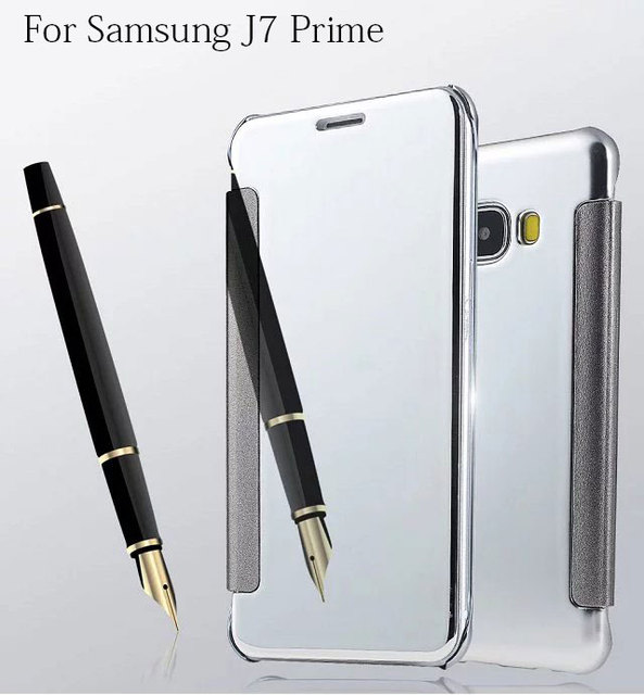 newest 2b82b 38f17 US $6.9  Case For Galaxy J7 Prime Plating Mirror Flip Cover For Samsung  Galaxy J7 Prime SM G610-in Flip Cases from Cellphones & Telecommunications  on ...