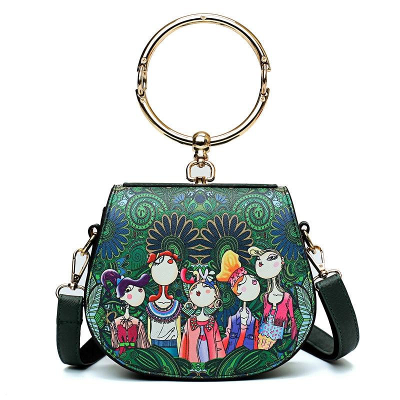 ec371f185b Εκτύπωση κινούμενων σχεδίων γυναικών τσάντα στρογγυλά πλαισίων ...