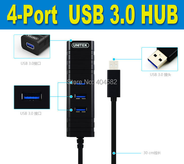 Free shipping Unitek USB 3.0 HUB, 4port 3.0 HUB  super-speed(5Gbps)