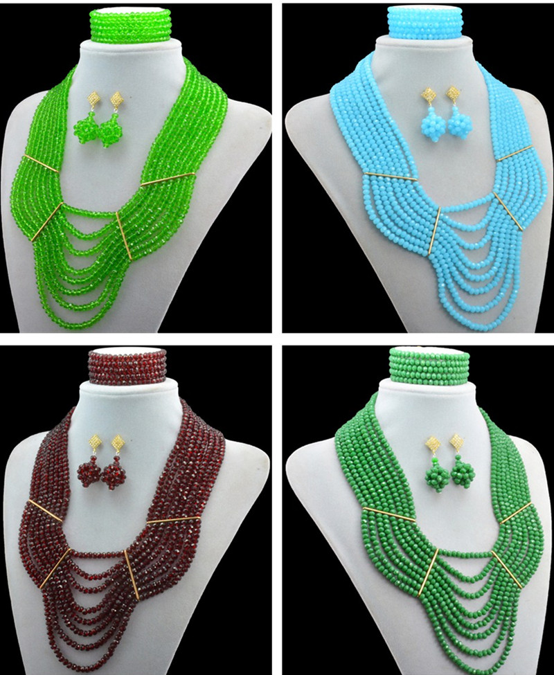 Black friday big sale! Classic White Green Nigerian/african beads jewelry set sets in wedding party dinner dress for women