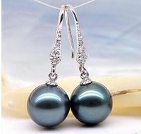 925 silver real natural big 12mm natural seawater pearl earrings earrings Black Pearl 925 silver ear hook round light