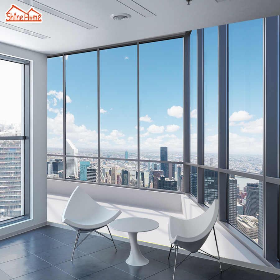 Shinehome 3d大型カスタムオフィス窓建物ビュー壁紙3 Dウォール