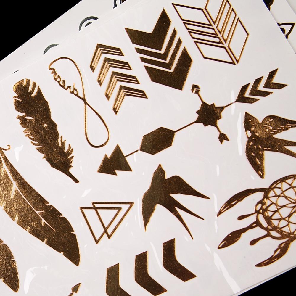 12 Pcs Metallic Bronzing Retro Fashion Temporary Tattoo Waterproof Body Art Makeup Tattoo Stickers 9