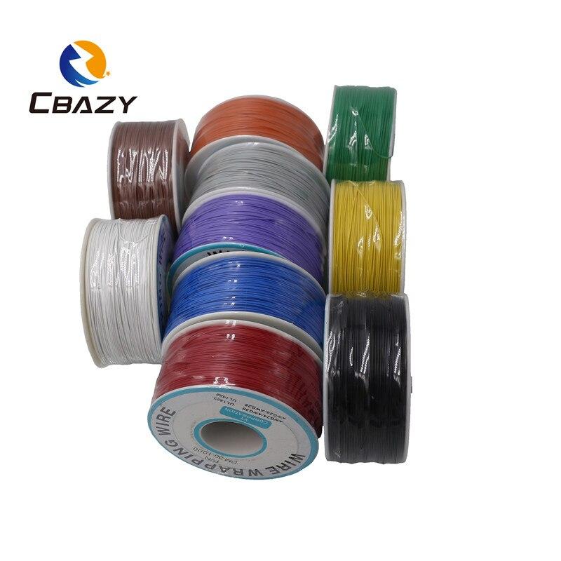 Cbazy 250m fio elétrico que envolve o envoltório 10 cores único fio de cobre da costa awg30 do cabo ok & fio do pwb