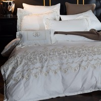 White color luxury Egypt Cotton Bohemia Bedding Set Queen King size Embroidery Duvet cover set Bed Sheet/linen set Pillowcases