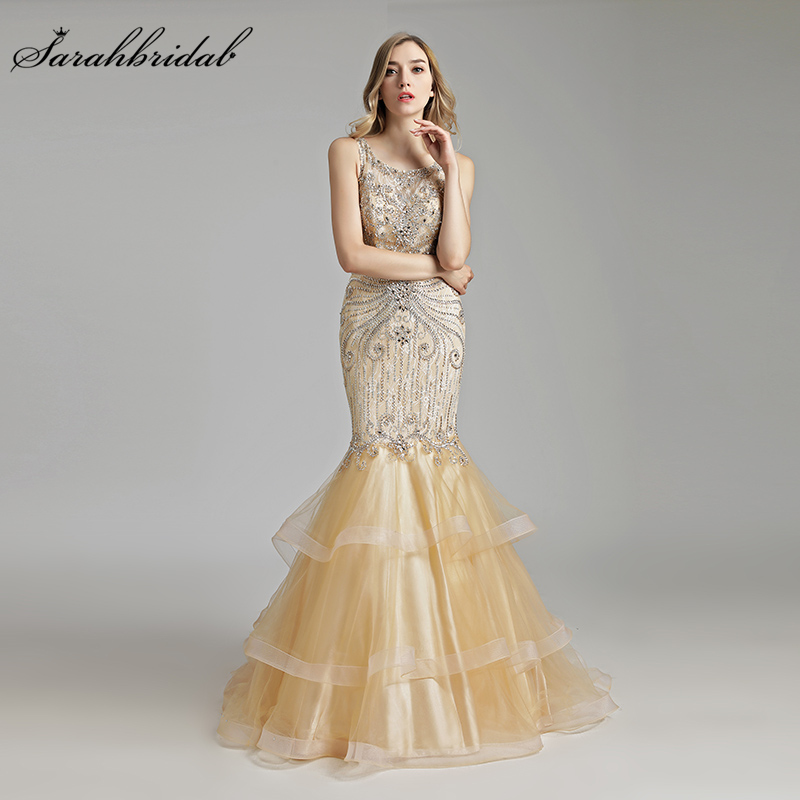 Robe De Soiree Real Photos New Mermaid Arrivals   Evening     Dresses   Tulle Floor Length Formal Crystal Beaded Actual Image LSX492