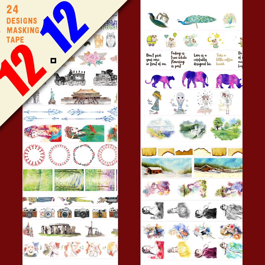 24Designs NEW Flowers/Girls/Cat/Peacock/Beijing Opera Pattern Japanese Washi Decorative Adhesive DIY Masking Paper Tape Sticker