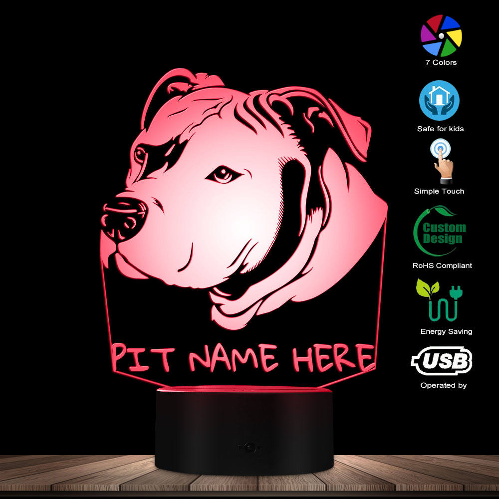 Custom Pitbull 3D LED Night Light Pit Bull Head Portrait 3D Optical Illusion LED Lamp With Personalised Dog Name Pitties Gift