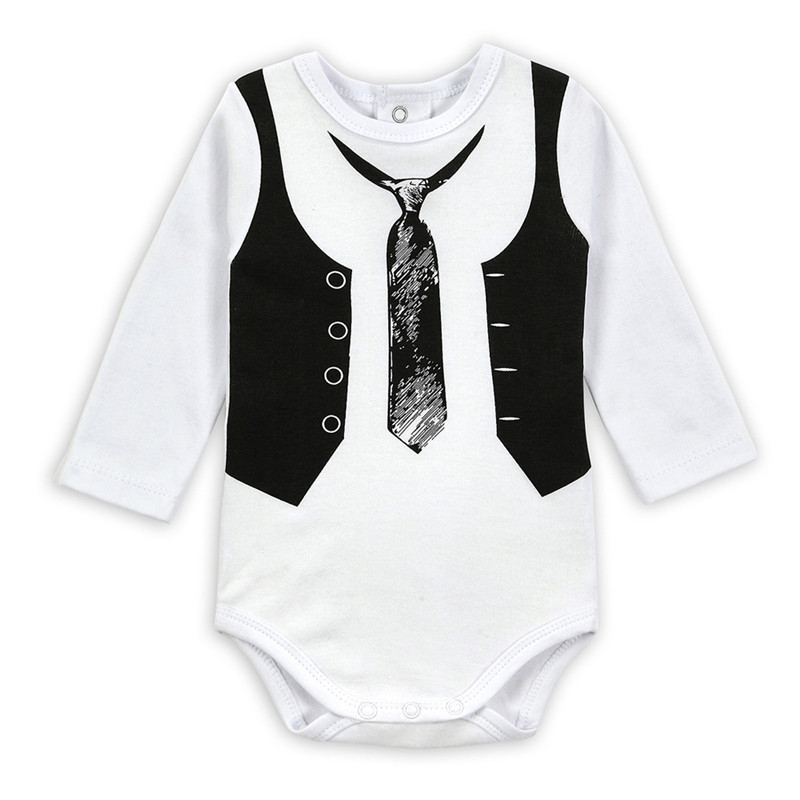 Baby Girls Boys One Pieces Gentleman White Long Sleeve ...