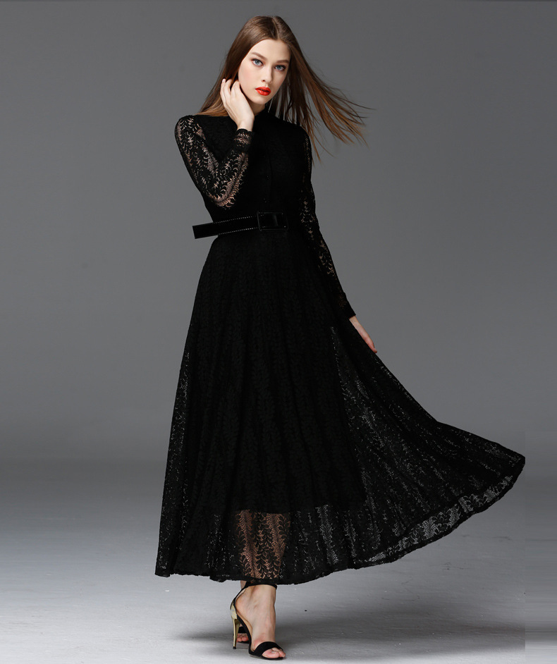 European Style Perspective Big Swing Lace Women Dresses Slim Long Sleeve Black Maxi Dress High Quality