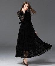 European Style Perspective Big Swing Lace Women Dresses Slim Long Sleeve Black Maxi Dress High Quality Elegant Party Dress 16345