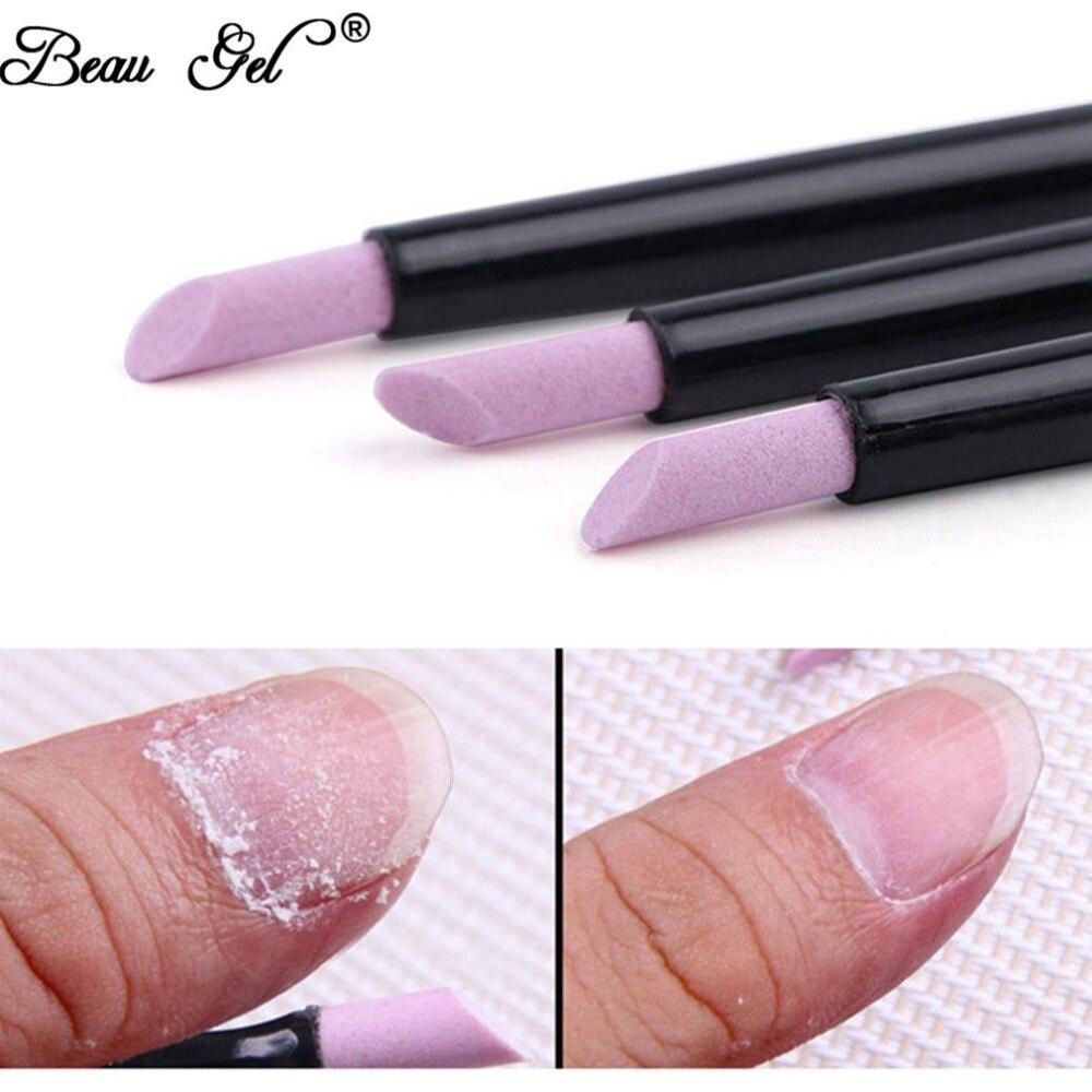 Beau Gel Nail Cuticle Pusher Black Quartz Head Scrubs Stone Cuticle Stick Pen Spoon Cut Manicure Care Professional Nail Tools cuticle care stick grape