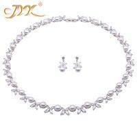 JYX жемчужный ювелирный набор 8,5 9,5 мм белый плоский круглый пресноводный жемчуг комплект ожерелья и серьги 21