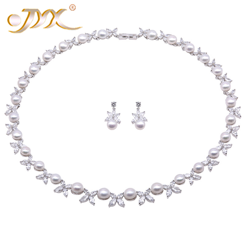 JYX Pearl Jewelry Set 8.5-9.5mm White Flat Round Freshwater Pearl Necklace & Earrings Set 21 jyx pearl wedding jewelry set 7 7 5mm white flat round freshwater pearl necklace