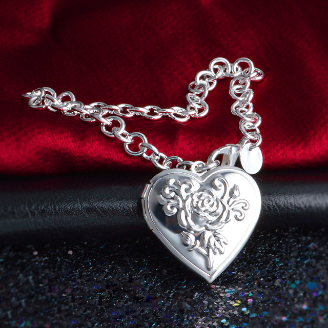 JEXXI Chunky Chain 925 Sterling Silver Photo Locket Bracelet Vintage Flower Heart Drop Bracelets Pulsera Gift Valentine's Day