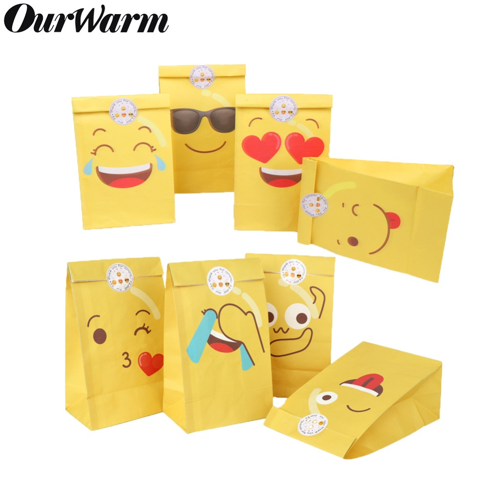 OurWarm 12pcs Emoji Party Cute Emoji Smiley Paper Bags With Emoji Stickers Children Birthday Party Gift Bags Candy Bags
