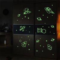 New Fluorescent stars glow in the dark home decor Luminous space Planets rocket UFO astronaut Wall Stickers for kids baby room
